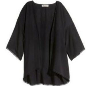 H&M LOVES COACHELLA Crinkled Kimono w/ Pompom Trim